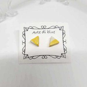 Orecchini Triangoli gialli Arte di Blue fatto a mano Napoli