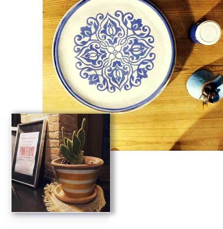 collage di prodotti di ceramica lavorate a mano da arte di blue a napoli